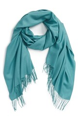 Women's Nordstrom Tissue Weight Wool And Cashmere Scarf Blue Green Teal Britt