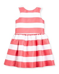 Lili Gaufrette Sleeveless Striped A Line Dress Watermelon