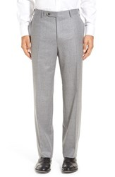 Canali Men's Flat Front Solid Wool Trousers