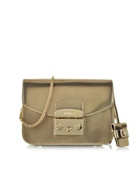 Furla Metropolis Champagne Patent Leather Mini Crossbody Bag Bronze