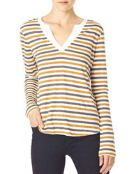 Sanctuary Striped Long Sleeve Linen Tee Old Spice