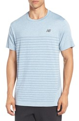 New Balance Men's 'M4m' Athletic Fit Seamless Training T Shirt Riptide Heather