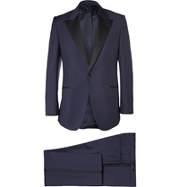 Huntsman Navy Slim Fit Wool And Mohair Blend Tuxedo Blue