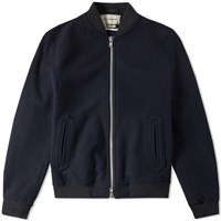 Oliver Spencer Bermondsey Wool Bomber Jacket Blue