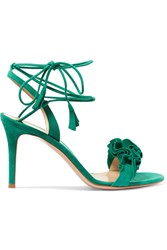 Gianvito Rossi Ruffled Suede Sandals Green