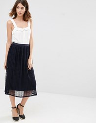 Warehouse Spot Mesh Skirt Navy