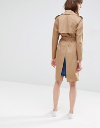 Asos Trench With Split Back Tobacco Brown