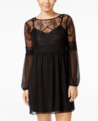 Amy Byer Bcx Juniors' Sheer Sleeve Lace Shift Dress Black
