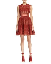 Elie Saab Sleeveless Fit And Flare Lace Dress Cadillac