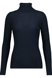 Magaschoni Ribbed Silk And Cashmere Blend Turtleneck Sweater Midnight Blue