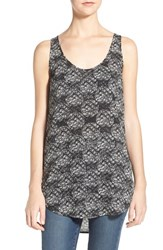 Junior Women's Bp. High Low Tunic Tank Black Dashiki Diamond