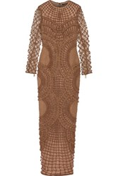 Balmain Woven Suede And Tulle Gown Brown