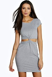 Boohoo Kelly Cut Out Knot Front Dress Grey Marl