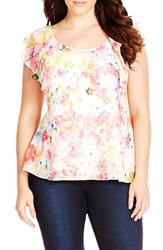 Plus Size Women's City Chic 'Floral Sparkle' Sequin Print Top Baby Pink