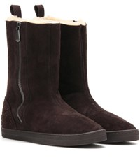 Bottega Veneta Winter Lagoon Shearling Lined Suede Boots Brown