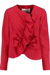 Valentino Ruffle Trimmed Wool And Silk Blend Jacket Red