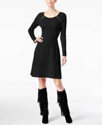 Inc International Concepts Petite Zip Detail Sweater Dress Only At Macy's Deep Black