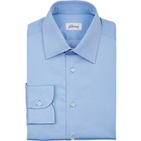 Brioni Men's Polished Poplin Dress Shirt Light Blue