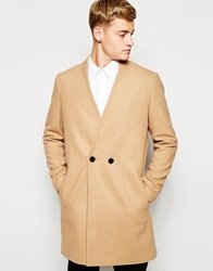 Asos Collarless Double Breasted Overcoat In Camel