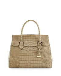 Christian Lacroix Luna Crocodile Embossed Leather Satchel Bag Ash