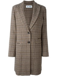 Barena Glencheck Coat Brown
