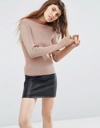 Asos Jumper With High Neck In Metallic Rose Gold