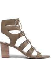 Loeffler Randall Hana Leather Sandals Army Green