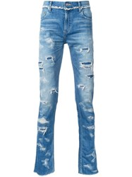 Christian Dada Ripped Slim Fit Jeans Blue