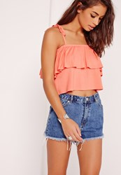 Missguided Frill Layered Strappy Crop Top Orange Pink