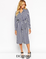 Love Belted Midi Shirt Dress In Stripe Multi