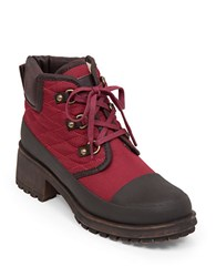 Lucky Brand Akonn Quilted Sherpa Lined Booties Red
