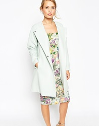Asos Coat In Trapeze In Waterfall Front Mint