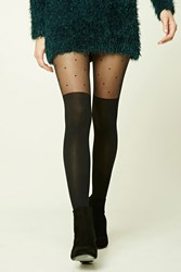 Forever 21 Dotted Opaque Tights Black