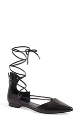 Women's Kendall Kylie 'Sage' Lace Up Pointy Toe Flat Black Leather