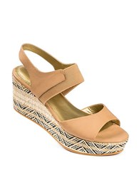 Me Too Leather Open Toe Platform Wedge Sandals Brown