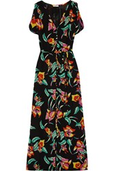 Joie Lunaria Printed Silk Maxi Dress Black