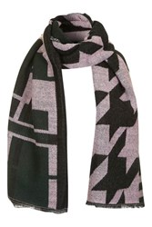 Topshop Geo Check Oversized Scarf Green