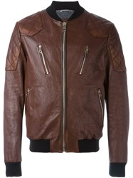 Dolce And Gabbana Zipped Leather Jacket Brown