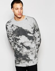 Cheap Monday Crew Sweatshirt Zone Loose Fit Clouds Print In Grey Melange Grey