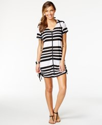 Dotti Striped Hoodie Cover Up Women's Swimsuit White Black