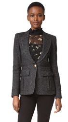 Smythe Peaked Lapel Blazer Black Tweed