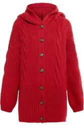Vivienne Westwood Anglomania Mud Hooded Cable Knit Cardigan Red