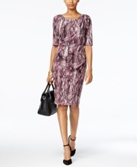 Connected Petite Printed Faux Wrap Dress Plum