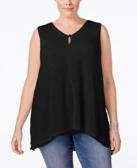 Styleandco. Style And Co. Plus Size V Neck Sleeveless Handkerchief Hem Top Only At Macy's Deep Black