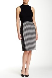 Insight Houndstooth Faux Leather Trim Skirt Multi