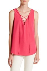 Vanity Room Woven Lace Up Tank Pink