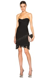 Herve Leger Fringe And Grommet Strapless Bandage Dress In Black