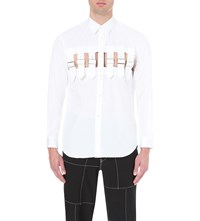 Comme Des Garcons Buckle Cutout Cotton Shirt White