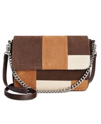 Giani Bernini Suede Patchwork Large Crossbody Only At Macy's Chocolate Multi