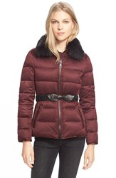 Women's Burberry Brit Belted Down Jacket With Genuine Fox Fur Collar Deep Claret